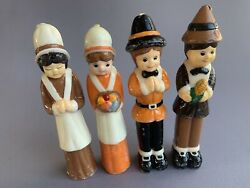Tall Thanksgiving Candles Indians Pilgrims Vintage Figurines Set Of 4