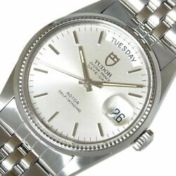 Tudor Oyster Date-day 94710 Rolex Case Automatic Silver Menand039s Watch 35mm