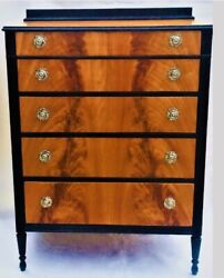 Custom  Black And Flame Birch Satinwood Antique Dresser Chest Of Drawers Highboy