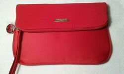 GIORGIO ARMANI Beauty red cosmetic pouch wristlet clutch bag makeup purse case $11.99