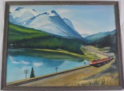 Vintage Original 1985 Watercolor Painting Mountain Train By Paul Giles