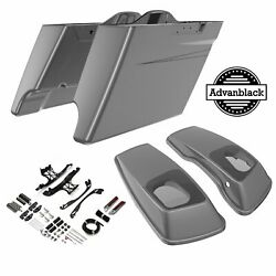 Charcoal Pearl Stretched Saddlebag Pinstripes 6x9and039and039 Speaker Lids Fits 14+ Harley