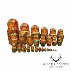 Russian Nesting Dolls 29 Pieces Artist Signed