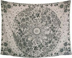 Bohemian Tapestry Wall Hanging Hippie Mandala White Floral Wall ArtHome Decor