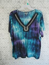 Essentials Top Size 4X Multi Colors Bling V Neck Short Sleeve Pull Over Casual $9.99