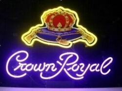 New Crown Royal Poker Whiskey Neon Light Sign 24x20 Beer Bar Real Glass Decor