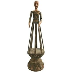 18th Century Spanish Santos Wooden Cage Doll With Polychrome Decoration