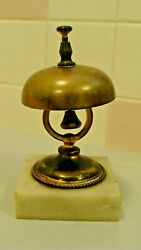 Vintage Hotel Front Desk Brass Bell With Marble Base 2.9 X 2.9 And 5.4 Tall