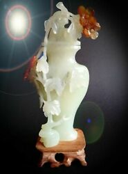 Jade Urn Brush Washer Vase Antique Statue Asian China Flowers Carving Agate