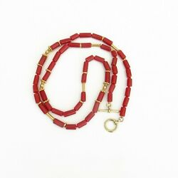 Red Coral Coral Necklace 18k Gold Coral Tubes - Coral Jewelry Ooak Gold Beads