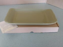 Longaberger Pottery Appetizer Tray In Sage Green Woven Traditions New In Box