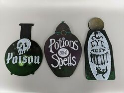 3x Potion Spells Poison Bottles Signs Wooden Witch Harry Potter Vintage Style