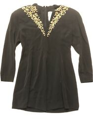 Patricia Rhodes Couture Gold Beaded Black Jacket - Sz 8 - L71