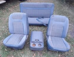 80-86 Bronco Low Back Bucket Seats Set Console Blue With Mounts Brackets 78 79