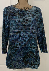 Coldwater Creek 3/4 Sleeved Tiered Blue Print Tee/top- Size M 10-12