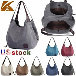 Women Canvas Handbag Shoulder Bags Large Travel Messenger Tote Purse Hobo Bag US $19.58