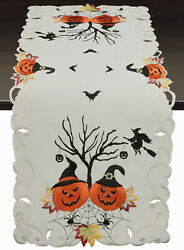 Creative Linens Fall Halloween Placemats Table Cloth Runner Mantel Scarf Ivory