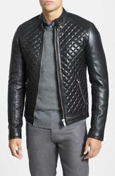 Menand039s Steezy Leather Jacket 100authentic Lambskin Leather Motorcycle Jacket S74