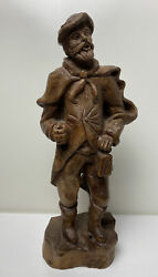 Exquisite German Black Forest Antique Wood Carving  Man With Lantern