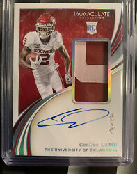 Ceedee Lamb 1-of-1 Rpa On Card Auto 1/1 Immaculate Collection Cowboys/oklahoma