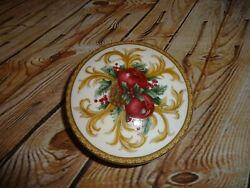 Mikasa Holiday Orchid Porcelain Covered Trinket Box Round 683 Japan