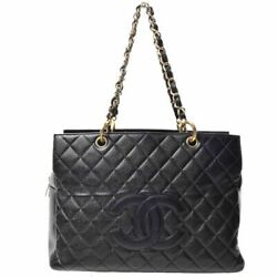 Auth Caviar Reprint Chain Tote Bag Gold Hardware Black Leather