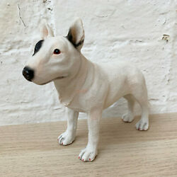 Standing White English Bull Terrier Puppy Dog Pet Ornament Statue Figurine Gift