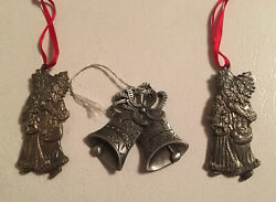 3 Pewter Christmas Tree Ornaments 2- Nantucket Father Santas And Double Bells