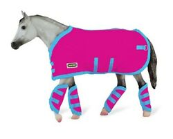 Breyer Tack Blanket and Shipping Boots Hot Pink and Blue Trim 3948