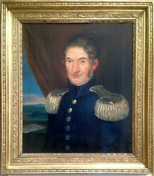 19th Century Oil Painting Portrait Major Officer Military C1819