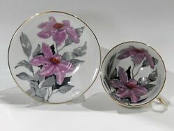 Clarence Bone China Purple Clematis Cup And Saucer Hand Decorated Enamelled Detail