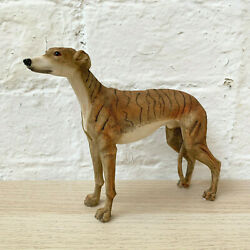 Standing Brindle Greyhound Puppy Dog Pet Ornament Statue Figurine Resin Gift New