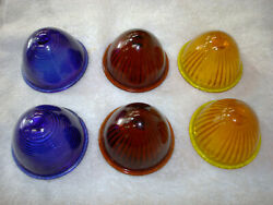 6 Vintage 1930 / 40s Red / Blue / Amber Beehive Glass Tail Light Lens