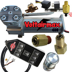 Airride Compressor Voltair Dc100silver Airhorn Pressure And 7-switchboxrelay Fitg