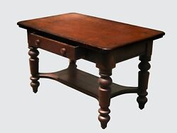 Victorian Solid Oak 1 Drawer Library Table / Antique Desk In Original Finish