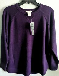 NWT Nordstrom Scoop Hem Fine Knit Pullover Sweater Size Small Eggplant Purple $19.99