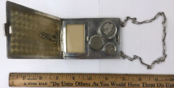 Antique Sterling Silver Money Purse Wallet Coin Paper Money Holder And Chain Nice