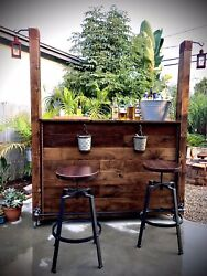 Patio Living The R.a.p. Bar Roll Away Patio Bar- Walnut And Reclaimed Wood