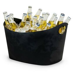 Champagne Beer Ice Bucket Black Plastic Large Oval Drinks Pail Cooler Party Buck