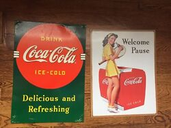 Vintage Welcome Pause And Delicious And Refreshing Coca Cola Tin Signs