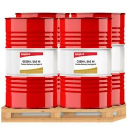 Sinopec Stationary Gas Engine Oil - Sae 40 - 55 Gallon Drum - Lot Of 4 Drums