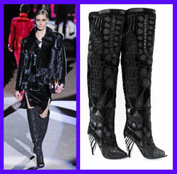 Tom Ford Black Over The Knee Boots With Open Toe 37 - 7