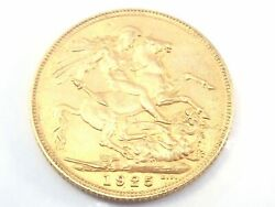 1925 22ct Gold Sovereign King George V Coin A.u 557