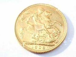1908 22ct Gold Full Sovereign King Edward Vii Coin A.u 553