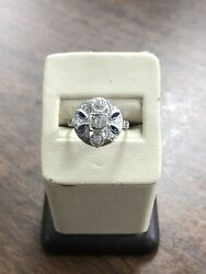 Estate Vintage 1940s 14kt White Gold Natural .60 Ctw Diamond And Sapphire Ring