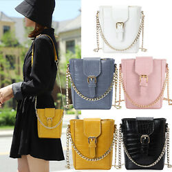Women Chain Buckle Crossbody Bags Cell Phone Pouch Mini Bucket Shoulder Purses $13.99