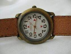 Cherokee Watch Brown Buckle Band Gold Tone Round White Face Working