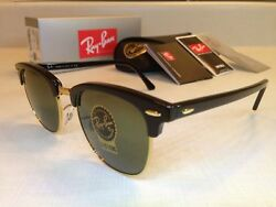 RAY BAN CLUBMASTER SUNGLASSES Size 51MM Black Frame with Green G 15 Lens $69.00