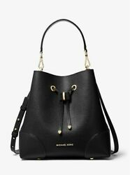 Michael Kors Mercer Gallery Medium Pebbled Bucket Bag Black EUC FREE SHIP $130.00