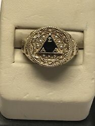 Class Solid 10kt Yellow Gold Sorority Alpha Sigma Alpha Pearl 2013 Ring